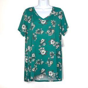 Lularoe NWT Christy T Green Floral Print